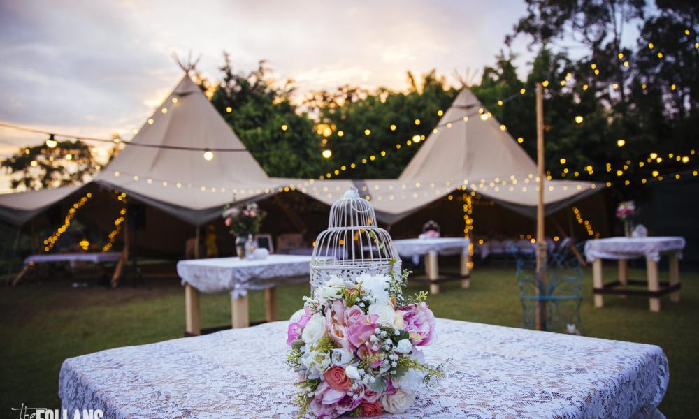 vintage theme, wedding, tipi, marquee hire, gold coast