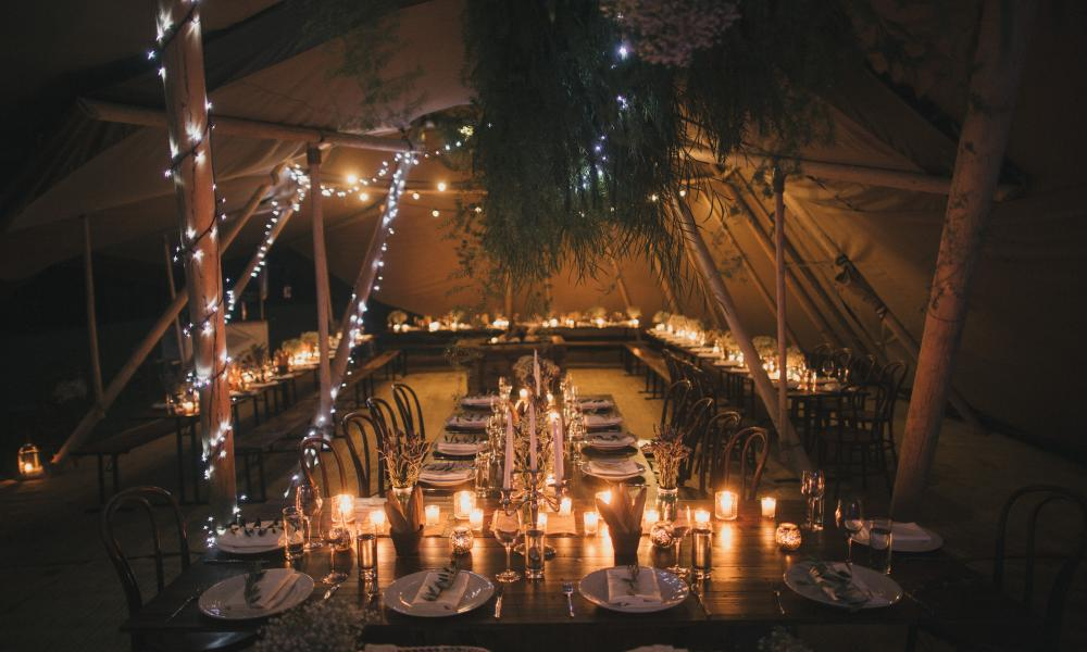 winter wedding, gold coast, tipi, marquee hire