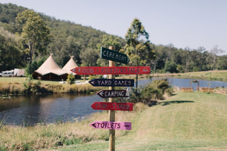 farmhouse numinbah, gold coast hinterland wedding, gold coast wedding, gold coast tipis, marquee hire, event hire, marquees, boho wedding, wedding sign
