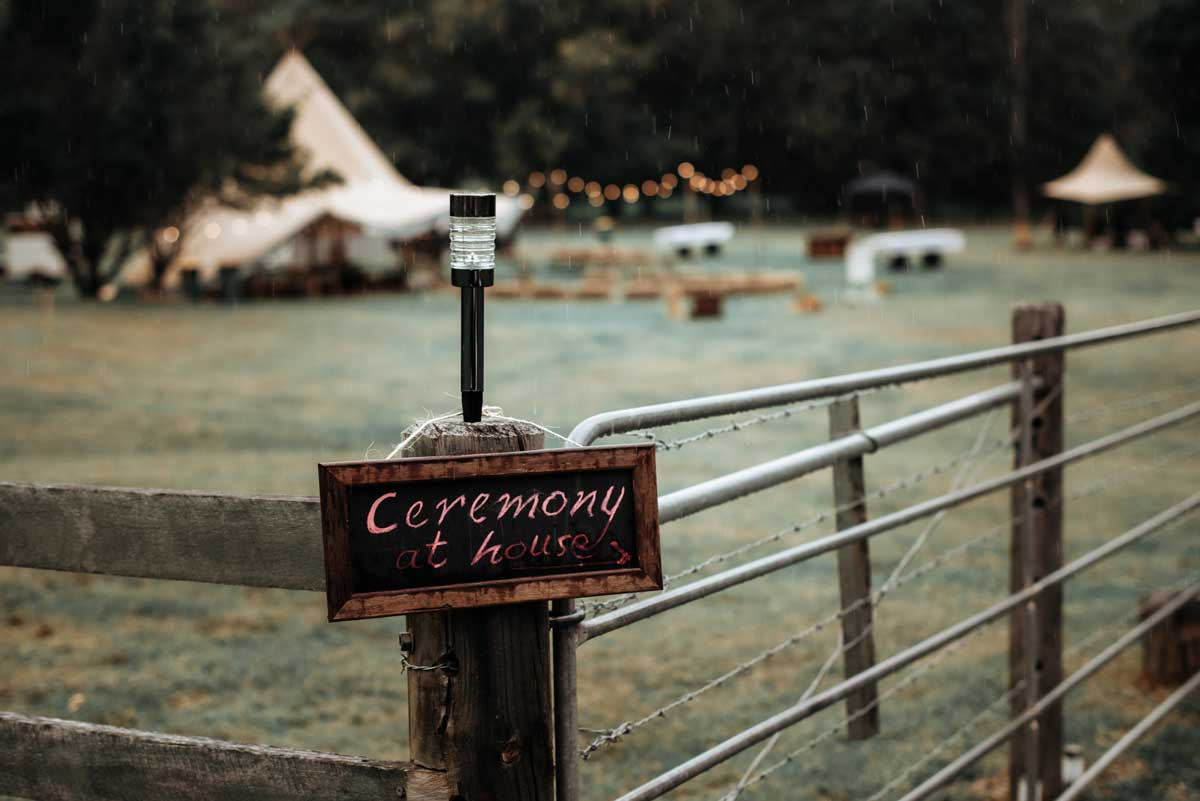 tipi wedding private property